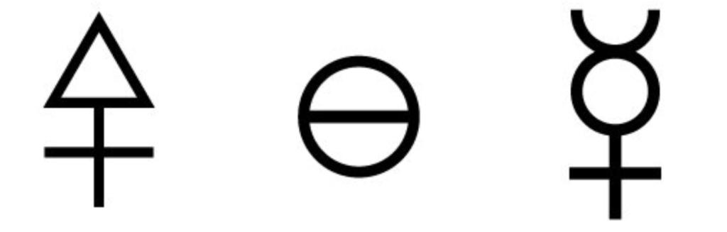 Les principes alchimiques avec le symbole du mercure représentant la Prima Materia